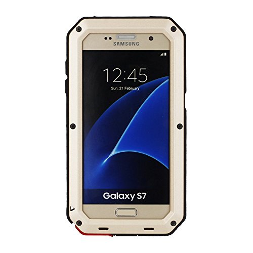 Mangix Galaxy S7 Case, 3C-Aone Gorilla Glass Luxury Aluminum Alloy Protective Metal Extreme Shockproof Military Bumper Finger Scanner Cover Shell Case Skin Protector for Samsung Galaxy S7 (Gold)