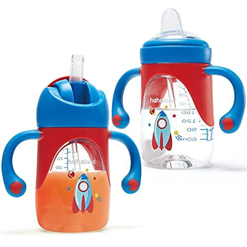 Vaso Bebe 2-en-1 Vaso Antiderrame Bebe con Boquilla y Pajita, Vaso Aprendizaje Bebe con Asas para Facilitar la Sujeción, Taza para Sorber para Bebes 6 12 meses, 240ml (Un Vaso con Boquilla y Pajita)