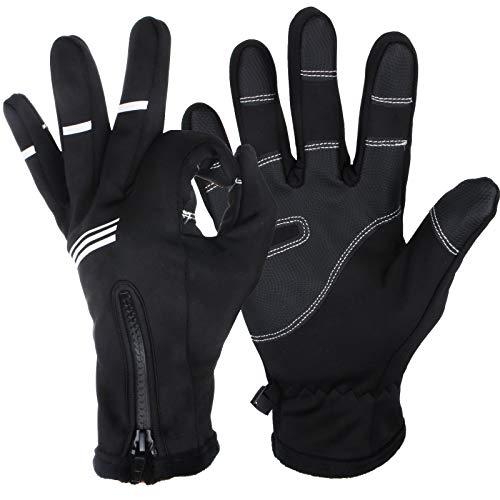 Sancuanyi - Guantes de invierno para hombre, pantalla táctil, deportes de esquí, bicicleta de montaña, guantes para mujer, cálidos, impermeables, resistentes al viento, con cremallera, color negro