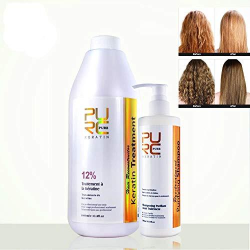 PURC 1000ML tratamiento de queratina de chocolate brasileño 12% cuidado del cabello alisar el producto para el cabello y champú purificador 300ml cuidado del cabello