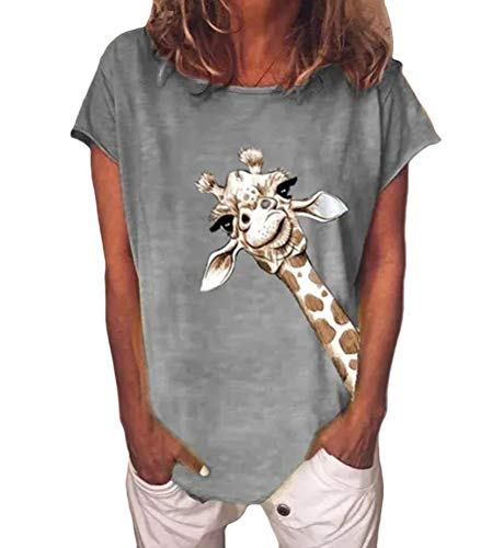 OranDesigne Damen Giraffen Druck T-Shirt Sommer Kurzarm Rundhals Casual Oberteile Baumwoll Basic Tops Shirt Grau Large