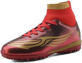 DREAM PAIRS Boys Girls Turf Outdoor/Indoor Soccer Football Cleats Shoes Red Gold Size 13 M US Little Kid HZ19008K