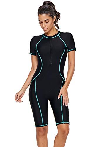 MyKrazyTees Women One Piece Zip Front Surfing Swimsuit Short Sleeve Rash Guard Athletic Swimwear Boyshorts Bathing Suit Wetsuit (Sky Blue,Small,US,Alpha,Adult,Female,Small,Regular,Regular)