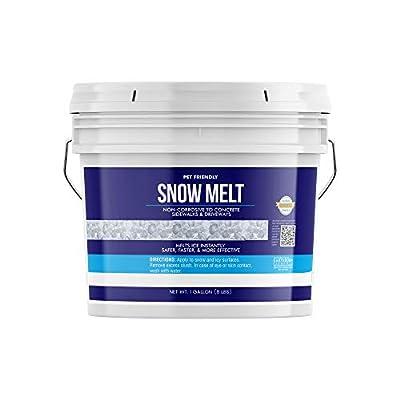 Earthborn Elements Snow & Ice Melt Pellets (1 Gallon (8 lbs)), PET-Safe, Concrete Safe, 90% Pure Calcium Chloride, Deicer, Fast Acting, Exothermic Heat, More Effective Than Rock Salt