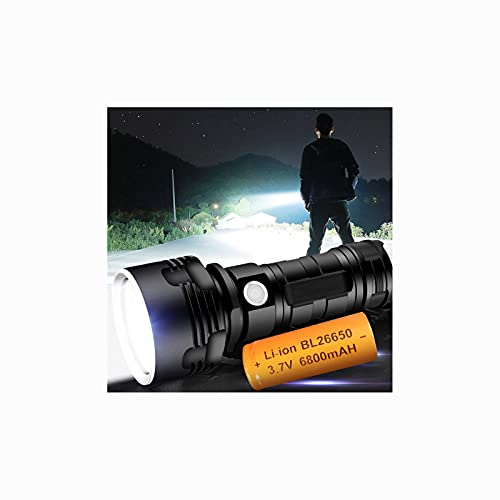 LED Rechargeable Flashlight, Bright High Lumens Tactical Flashlight with 26650 Batteries, Zoomable, 3 Modes Lighting, Camping, Outdoor, Emergency, Everyday Handheld Flashlight,Shipping from USA