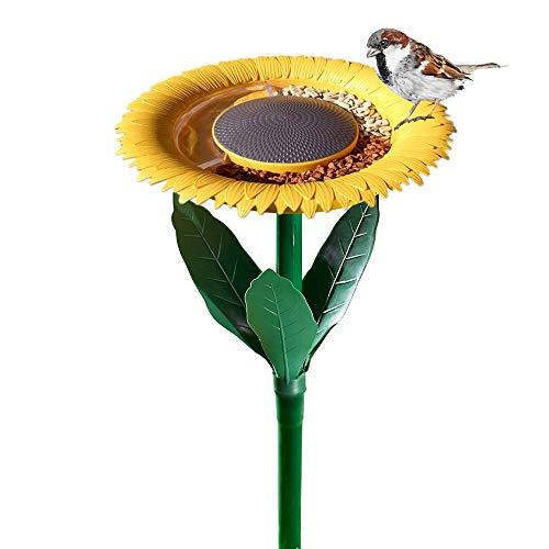 Original Sunflower Bird Feeder Outdoor - Flower Shape Bird Feeding Tray, Tiny Bird Bath, Garden Decor Stake, Ideal Gift Surprise for Nature Lover, Wild Bird Watcher, Kids and Children