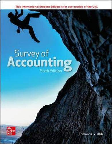 Compare Textbook Prices for Survey of Accounting 6 Edition ISBN 9781260575293 by Edmonds, Thomas,Edmonds, Christopher,Olds, Philip
