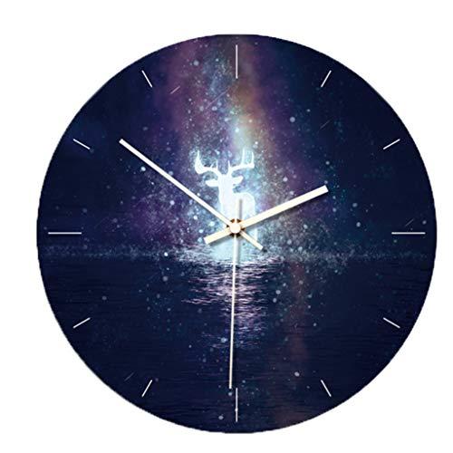 SIRIGOGO - Reloj de pared con diseño de cielo estrellado en 3D, extraíble que brilla en la oscuridad, silencioso, decoración de pared, relojes luminosos de pared (C)