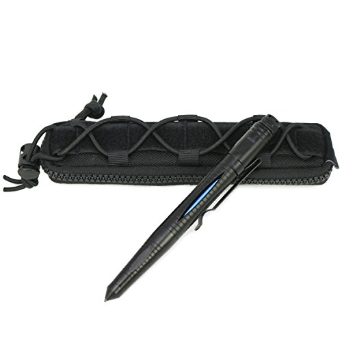 com-four® Tactical Kubotan Pen Kugelschreiber Mehrzweckstift MPP aus Flugzeug Aluminium, schwarz mit Inlay [Auswahl variiert]