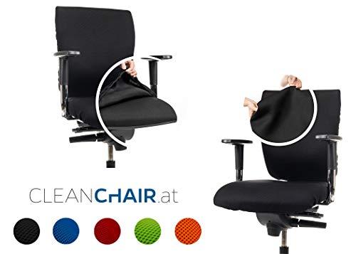 CLEANCHAIR Set: Bürostuhl 2er Überzugsset für die SITZFLÄCHE und RÜCKENLEHNE (Large, Schwarz)