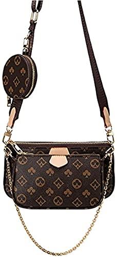 Mahjong Bag Umhängetasche Schultertasche 3 in 1 Luxus-Handtasche PU Leder Tragetaschen Fashion für Frauen Braun