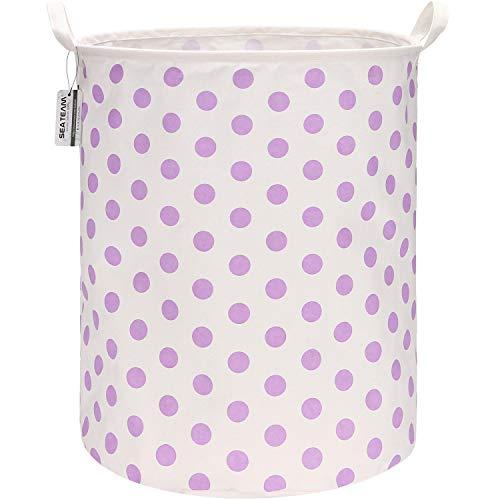 Sea Team 19.7 Inches Large Sized Waterproof Coating Ramie Cotton Fabric Folding Laundry Hamper Bucket Cylindric Burlap Canvas Storage Basket with Stylish Polka Dot Design (19.7', Purple)