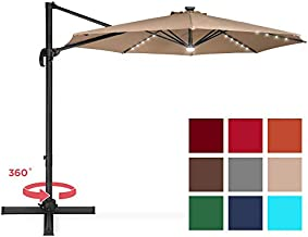 Best Choice Products 10ft Solar LED 360 Degree Rotating Cantilever Offset Patio Umbrella w/Easy Tilt - Tan