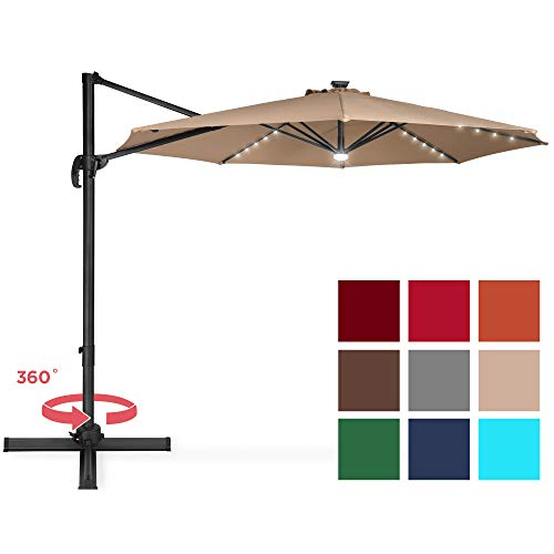 Best Choice Products 10ft Solar LED 360 Degree Rotating Cantilever Offset Patio Umbrella w/Easy Tilt...