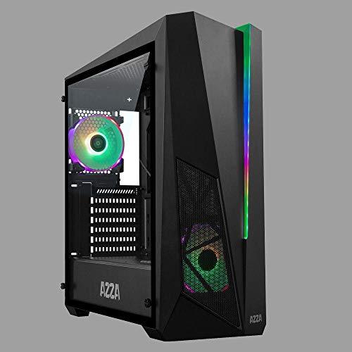 Azza Inferno 310 Bo/îtier Midi-Tour Noir Bo/îtier Midi-Tour, PC, Noir, ATX,Micro ATX, Rouge//Vert//Bleu, 15,5 cm Unit/és centrales