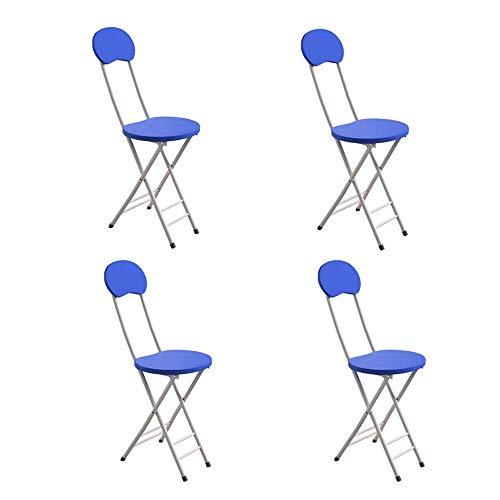 QWEA Silla Plegable, Respaldo y Patas de Metal y Silla de Comedor con cojín de Madera, Puede soportar un Peso de 150 kg, Juego de 4 Piezas, Azul, Juego de 4 Piezas