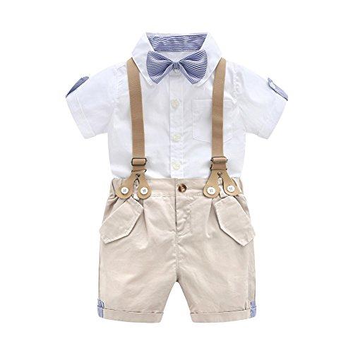 G-Kids Baby Jungen Smoking Strampler Gentleman Sommer Kleidung Anzug Kurz Fliege Jumpsuit Outfit mit Abnehmbare Hosenträger (80cm)