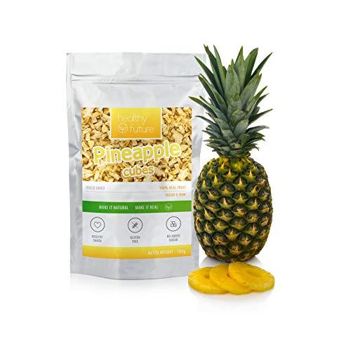 Piñas liofilizadas Cubos 100% naturales, sin gluten, sin azúcares añadidos, sin conservantes, merienda de fruta saludable (100g)
