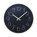 TETI`S Ducks Home - Reloj de Pared clásico, con números Grandes, diámetro Ø 25 cm. Decorativo para el hogar/la Cocina/la Oficina/la Escuela, fácil Leer. (Negro Gótico)