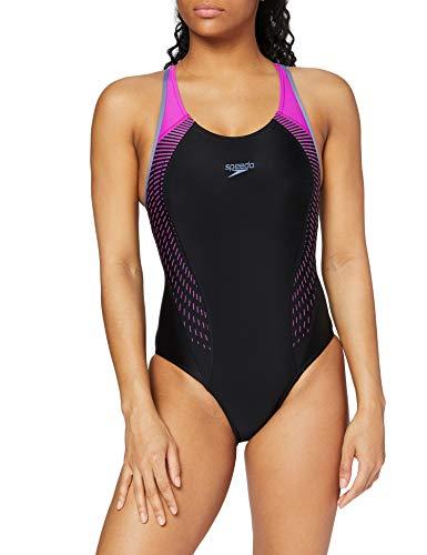 Speedo Damen Speedo Damen Badeanzug Fit Laneback Badeanzug Fit Laneback Swimsuit, Schwarz / Violett, 40 (Herstellergröße: 14)