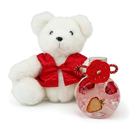還暦祝い 女性 母 プレゼント 梅結びの水引き付きハーバリウムと赤いちゃんちゃんこの還暦ベアセット 名入れチャーム付き 2wayラウンドボトル