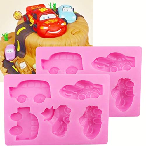 HengKe 2 Pieces 5 Car and Sports Car Shape Silicone Molds Food Grade Cake Molds Cake Baking Molds, Cake Pan Muffin Cups Handmade Soap Molds Icing,Biscuit Decor Chocolate Ice Cube Tray DIY Mold