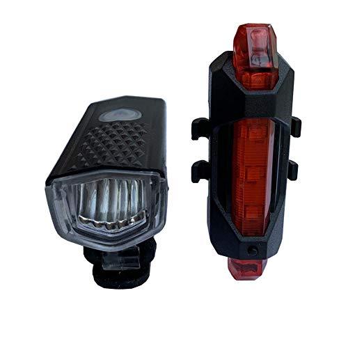 XWYWP Juego de luces LED recargables por USB para bicicleta de bicicleta, luz delantera y trasera