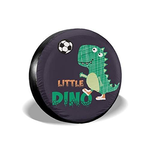 Lewiuzr Little Dinosaurs Play Football Cubierta de neumático de Repuesto Protector Solar de poliéster Cubiertas de Rueda Impermeables Ajuste Universal