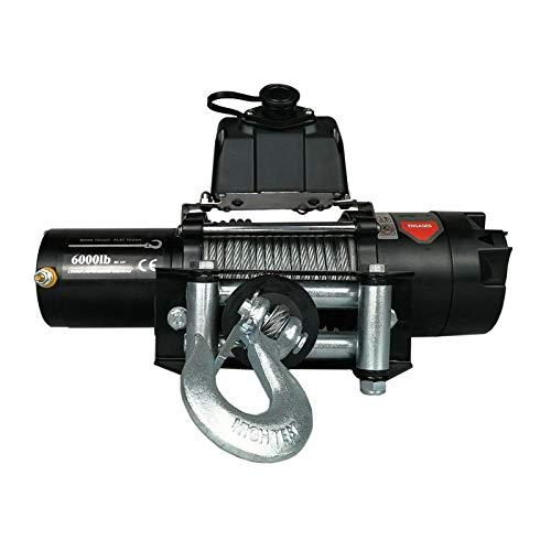 XZZ Cabestrante Electrico De 6000Ibs, Cable De Acero De 13 M, Cabrestante Eléctrico De 12 V / 24 V, Cabrestante Jeep, con Control Remoto Inalámbrico, para UTV ATV Y Camión