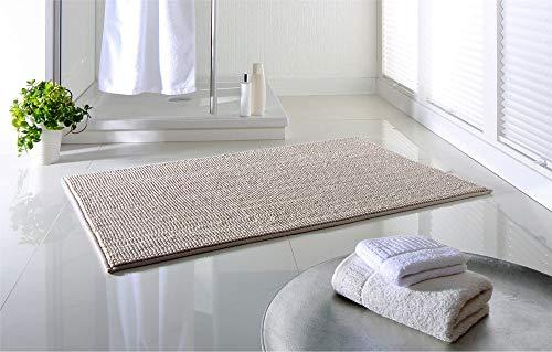 DreamHome® hochwertige Badematte rutschfest, Badezimmerteppich, Badvorleger, schnell trocknender Duschvorleger in 65x110cm, besonders pflegeleichter Anti-Rutsch (Sand)