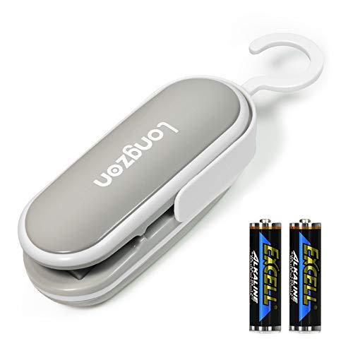 longzon Folienschweißgerät, Mini Bag Sealer, 2 in 1 Tüten Schneiden und Verschließen, Mini Folienschweißgerät Handlicher Tüten Verschweißer, Batteriebetrieben (Enthalten)-Weiß