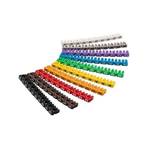 Goobay 72513 kabelmarkörklämmor, buntband/markörklämmor 0–9 för diameter – 2,5 mm, färgad