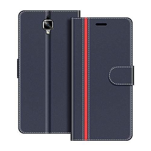 COODIO Handyhülle für OnePlus 3 Handy Hülle, OnePlus 3 Hülle Leder Handytasche für OnePlus 3 / OnePlus 3T Klapphülle Tasche, Dunkel Blau/Rot
