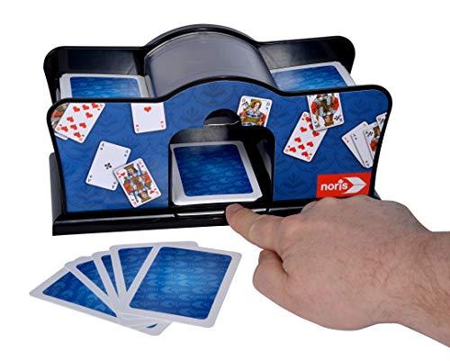 Noris 606154621 Kartenmischmaschine, batteriebetrieben, 2 x 1, 5V Batterien nicht enthalten, für Kartengröße bis 9, 2 x 6 cm, ab 8 Jahren