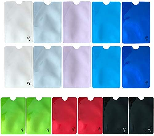 RFID Blocking Sleeves Set of 16 Credit Card Protector Sleeves 8 Unique Colourful Identity Theft product image
