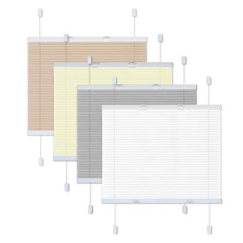 Victoria M. Easyfix Plissee Faltrollo ohne Bohren Plisseeanlage Klemmfix mit Klemmträger für Fenster und Türen, Größe: 80 x 100 cm, Farbe: Grau