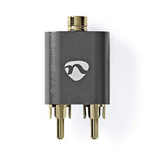 NEDIS Adaptador de Audio estéreo Adaptador de Audio estéreo   2X RCA Macho   3.5 mm Hembra   Chapado en Oro   Recto   Aluminio   Gunmetal   1 uds.   Caja de Ventana Gunmetal