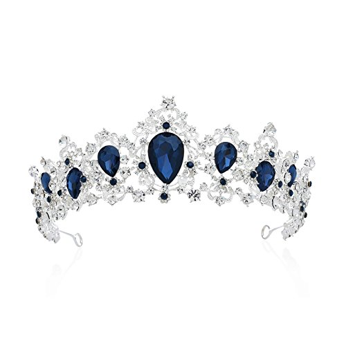 SWEETV Royal CZ Crystal Tiara for Women, Blue Wedding Crown for Brides, Princess Headpieces Bridal Hair Accessories for Birthday Party Pageant, Sapphire+Silver