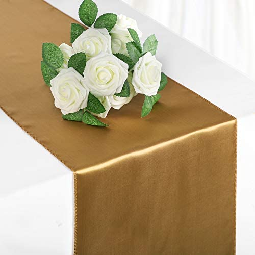 Syntus Satin Table Runner 10 Pack 12 x 108 inch Bright Silk and Smooth Fabric for Wedding Birthday product image