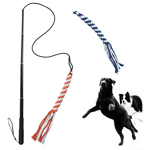 ASOCEA Dog Extendable Teaser Wand Pet Flirt Stick Pole Puppy Chasing Tail Interactive Toy for Small Medium Large Dogs Training Playing Exercise