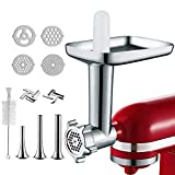 Metal Food Grinder Attachment for KitchenAid Stand Mixers, Included 3 Sausage Stuffer Tubes, 2...