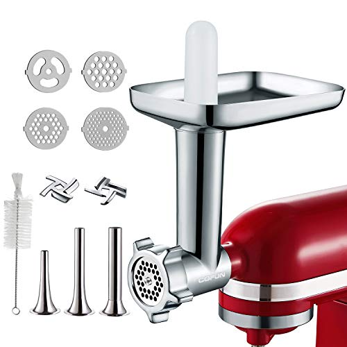 Metal Food Grinder Attachments for KitchenAid Stand Mixers, Cofun Meat Grinder Attachments for kitchenAid Mixers, Included 3 Sausage Stuffer Tubes, 2 Grinding Blades, 4 Grinding Plates