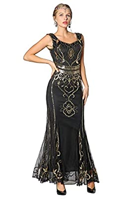 Metme Sequin Beaded Long Dresses, Gatsby Theme Party Night Sexy Women Flapper Dress Prom