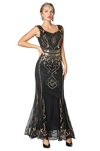 Metme Sequin Beaded Long Dresses, Gatsby Theme Party Night Sexy Women Flapper Dress Prom Black Gold