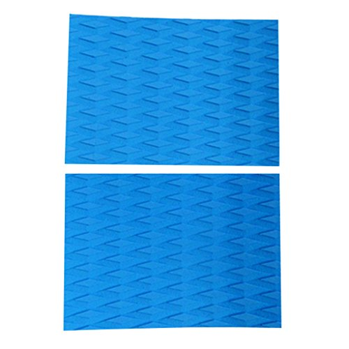 2 Pieces Anti-Slip EVA Surfboard Surf Kiteboard Skimboard Stand Up Paddleboard Traction Pad Tail Pad DIY Water Sports Accessories - Sky Blue