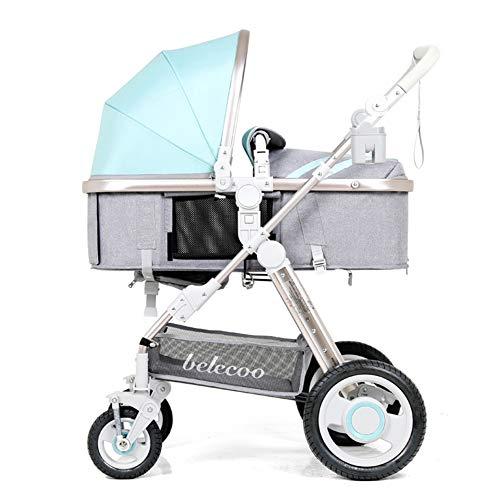 APXZC Faltbarer Leichter Jogging-Kinderwagen, mit Getränkehalter, freiem Zugband, großem Ablagekorb, sicherheitsstabil, für Neugeborene und Kleinkinder, blau