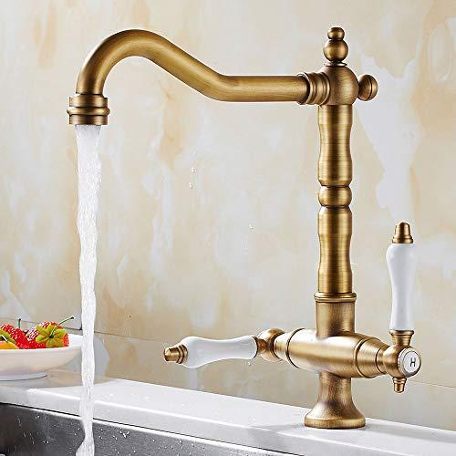 Küchenarmatur Messing Antik,Spültischarmatur Küche Wasserhahn,360°Schwenkbar mit 2 Keramisches Griffe,Zweigriffmischer Spültischarmatur für Küchen oder Badezimmer (Messing Antik)