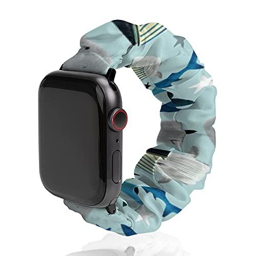 Correa de repuesto para hombre y mujer, compatible con Apple Watch de 42 mm/44 mm, suave y elástica para iWatch Series SE 6/5/4/3/2/1, ballenas y tiburones