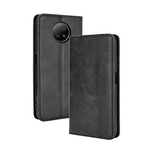 GOGME Leder Hülle für Xiaomi Redmi Note 9T 5G Hülle, Premium PU/TPU Leder Folio Hülle Schutzhülle Handyhülle, Flip Hülle Klapphülle Lederhülle mit Standfunktion und Kartensteckplätzen, Schwarz