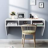 Giantex Wall Mounted Desk Floating Computer Desk, Writing Study Table W/3 Storage Shelves, Laptop PC Table for Living Room, Bedroom, Office (White)